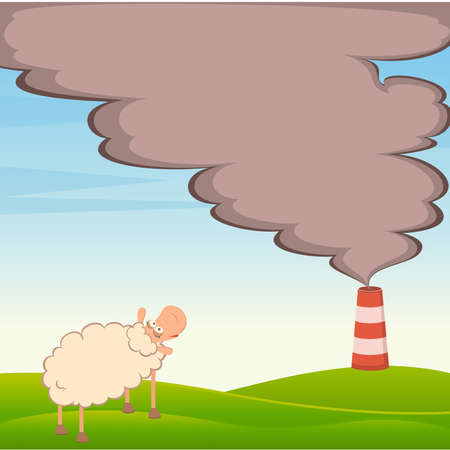 sheep looks as a factory is contaminated by atmosphere by poisonous garbage Stock Vector - 9877166