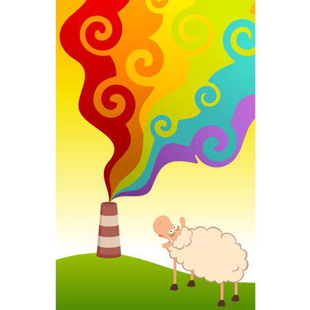 sheep looks as a factory is contaminated by atmosphere by poisonous garbage Vector