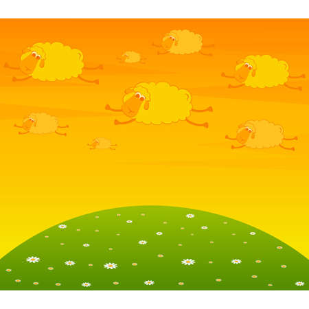 illustration of cartoon clouds fly as smiling sheep Vector