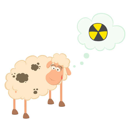 cartoon sick sheep looks at poisonous spots on the wool Vector