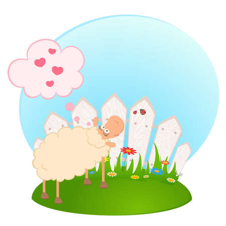 Vector Cartoon smiling sheep after a fence Vector