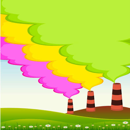 toxic cloud: Factory is contaminated by atmosphere by colorful poisonous garbage