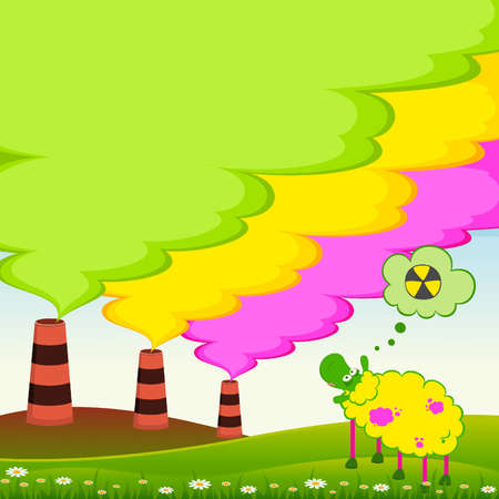 Vector sick sheep looks as a factory is contaminated by atmosphere by poisonous garbage Vector