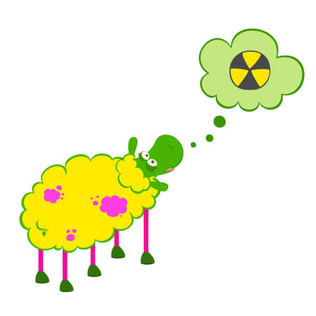 Vector cartoon sick sheep looks with poisonous spots on the wool Vector