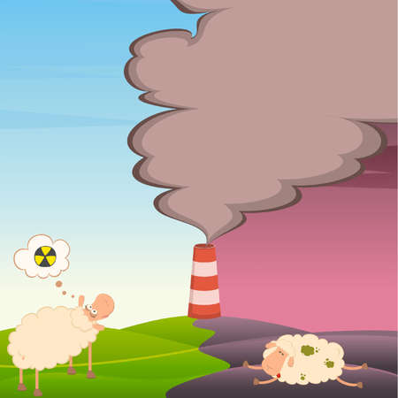 healthy sheep looks at a dead sheep and factory is contaminated by atmosphere Stock Vector - 9876979
