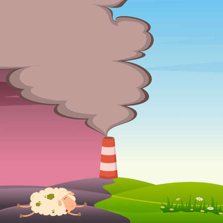 Vector dead sheep and factory is contaminated by atmosphere Vector