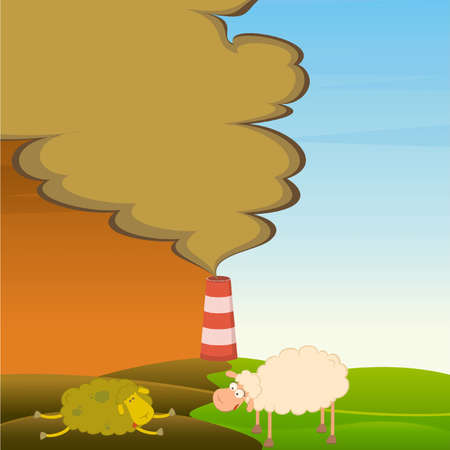 healthy sheep looks at a dead sheep and factory is contaminated by atmosphere Vector