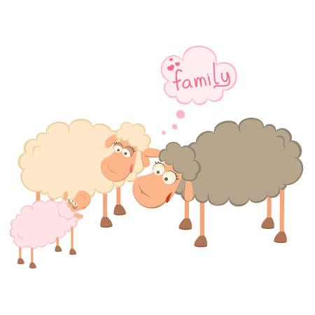 Vector family of cartoon sheep Vector