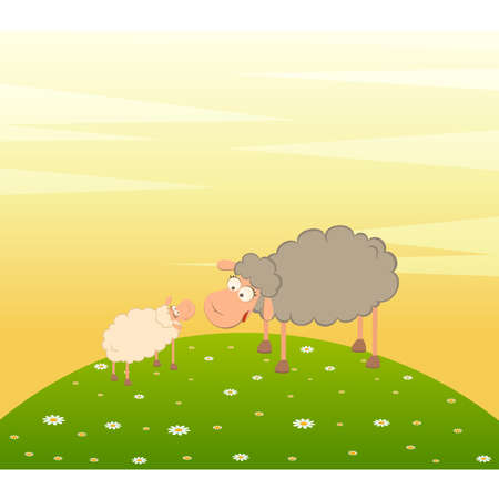 Vector family of cartoon sheep on landscape background Vector