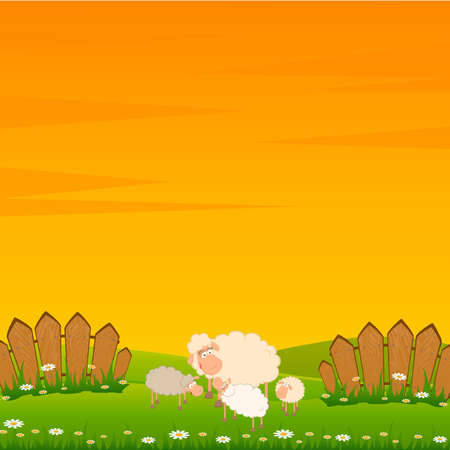 family of cartoon sheep on landscape background Vector