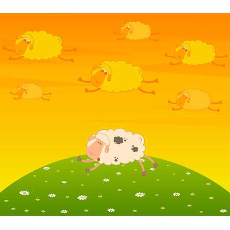 cartoon flying sheep dream an asleep sheep Vector