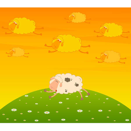 cartoon flying sheep dream an asleep sheep Stock Vector - 9876727