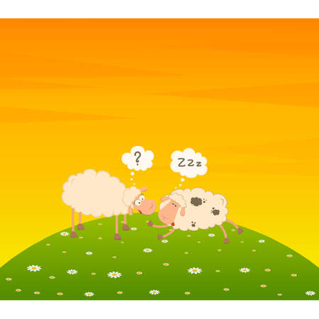 Vector cartoon sheep sleeps on a grass Vector