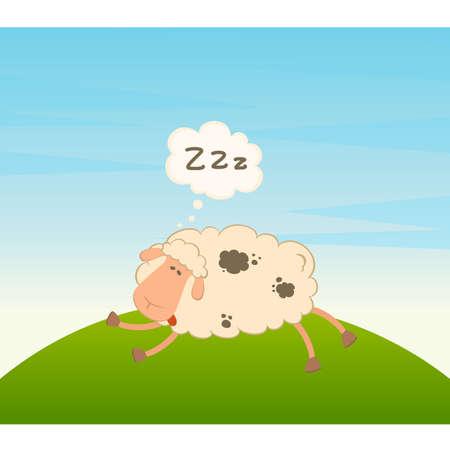 Vector cartoon sheep sleeps on a grass Vector