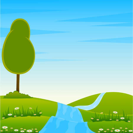 Vector Country Landscape with river Stock Vector - 9876730
