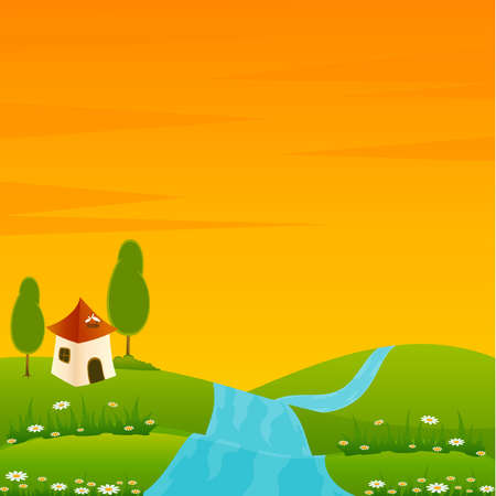 Vector Country landscape background with house and trees Vector