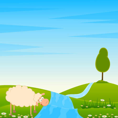 Vector Landscape background with cartoon smiling sheep