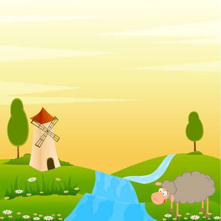 Vector Landscape background with house and cartoon sheep Vector