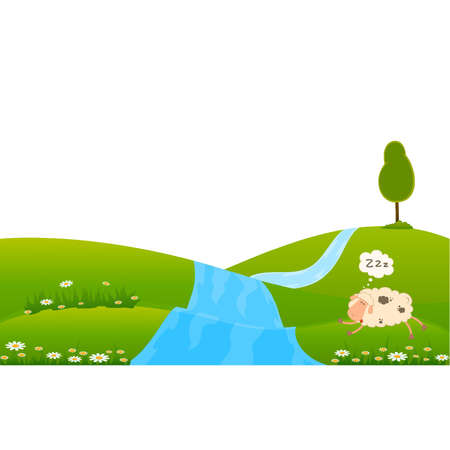 cartoon sheep sleeps on a grass Vector