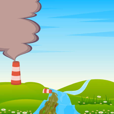 Factory is contaminated by atmosphere and river by poisonous garbage Stock Vector - 9876598