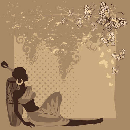 african girls: Beautiful african girl with butterfly. illustration in retro style Illustration
