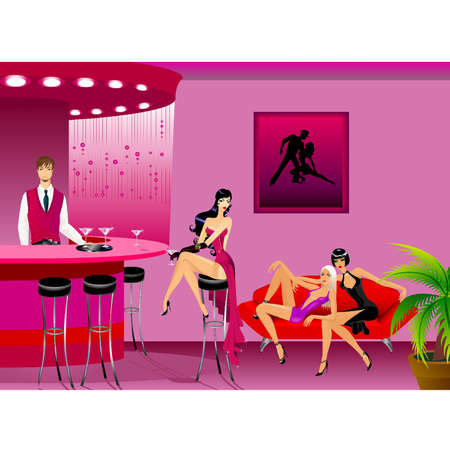 The beautiful girls sits on a sofa at restaurant near to the waiter Stock Vector - 9875208