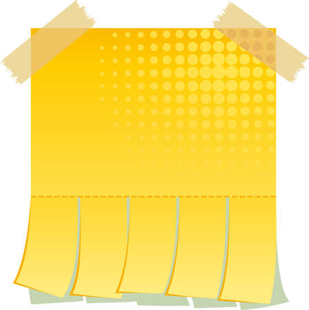 slips: Yellow blank advertisement with cut slips Stock Photo