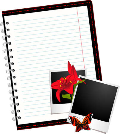 looseleaf: notebook with photo frames with flowers