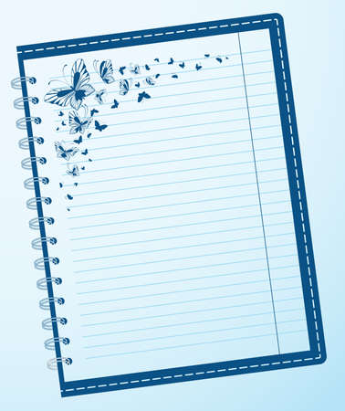 looseleaf: notebook with butterflies