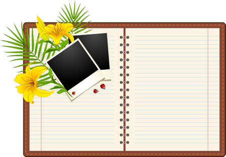 Blank paper notebook with flowers Stock Photo - 9871337