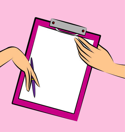 Blank paper notebook in hands Stock Photo - 9871338