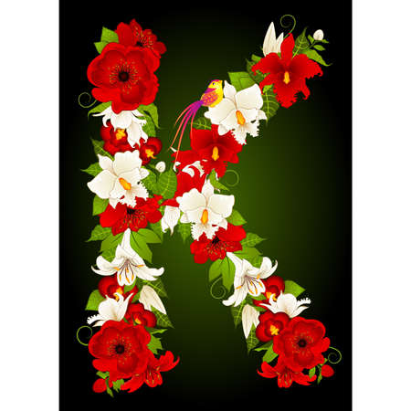 letter for signs with flowers and bird Stock Vector - 9797263