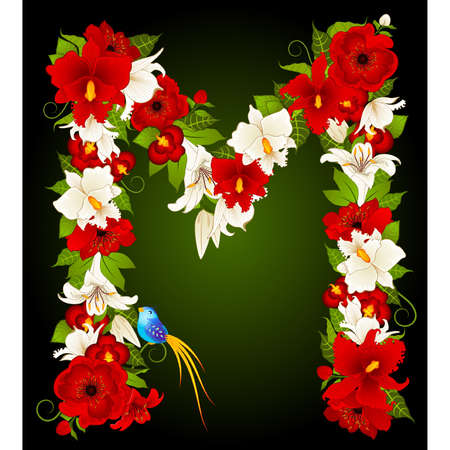 letter for signs with flowers and bird Stok Fotoğraf - 9797268