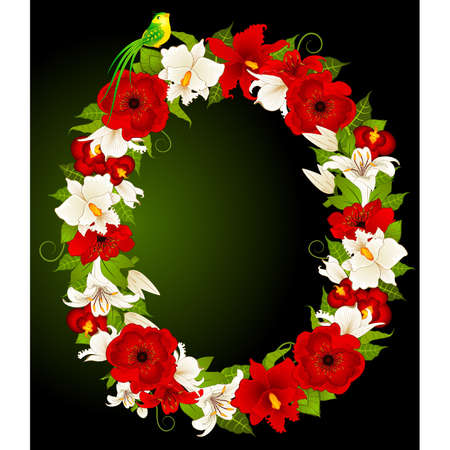 floral alphabet: letter for signs with flowers and bird