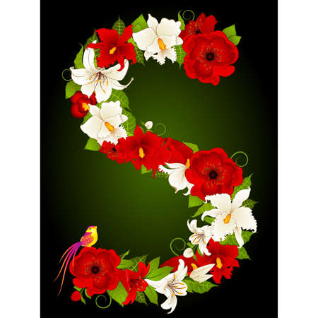 beautiful alphabet: letter for signs with flowers and bird