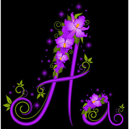 letter for signs with flowers Stock Vector - 9797218