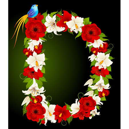 flower alphabet: letter for signs with flowers and bird