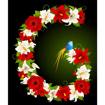 letter for signs with flowers and bird Vector