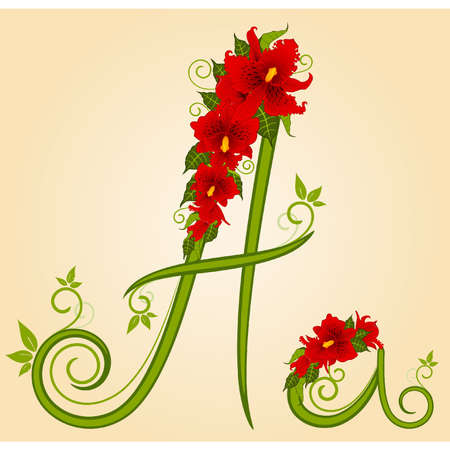 letter for signs with flowers Vector