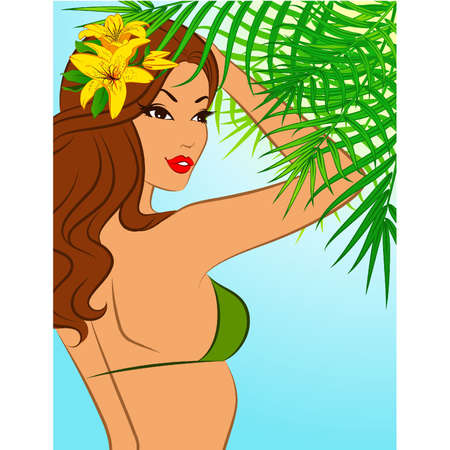Beautiful girl with tropical flowers. Vector
