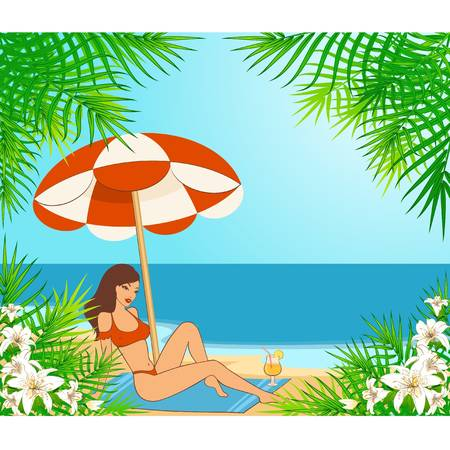 cowards: Beautiful girl on a summer beach. Illustration in retro style