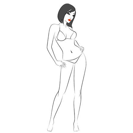 black breast: Vector silhouette of beautiful sexy woman