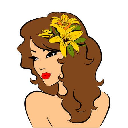 Hermosa chica con flores tropicales. Ilustración vectorial