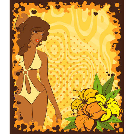 Beautiful girl with tropical flowers. Vector illustration Vector