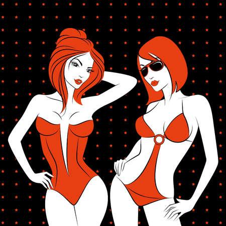 black breast: Silhouette of beautiful sexy girls