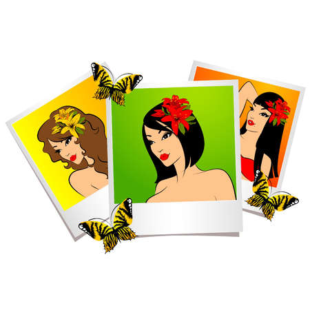 beach butterfly: Beautiful girl  in photo frames Illustration
