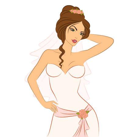 Schöne Braut im weißen Kleid. Vektor