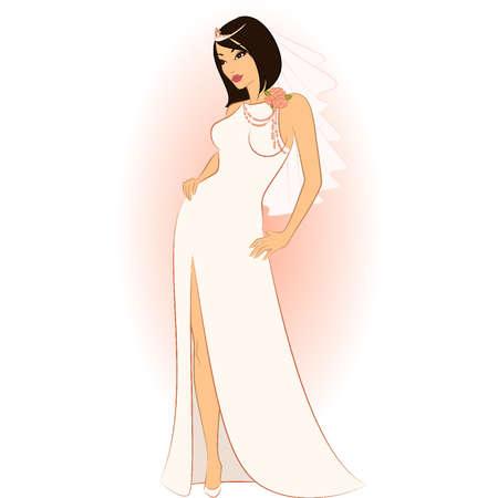 Beautiful bride in white dress. Vector Stock Vector - 9869568