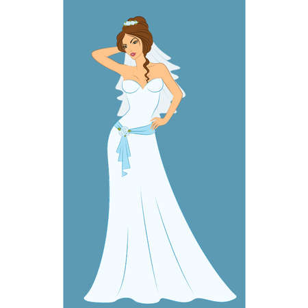 Beautiful bride in white dress. Vector Vector