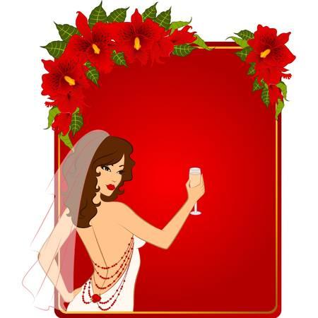 Beautiful bride in white dress. Vector Vector